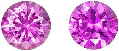 Perfect Pair of Pink Sapphires for Studs in Round Cut, 1.12 carats, 5.0 mm