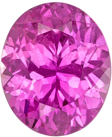 Perfect Pink Sapphire Loose Gem in Oval Cut, Vivid Pure Pink Color in 7.1 x 5.9 mm, 1.17 carats