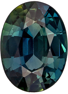 Perfect Ring Gem Blue Green Sapphire Oval Cut, 0.97 carats, 7.2 x 5.3 mm