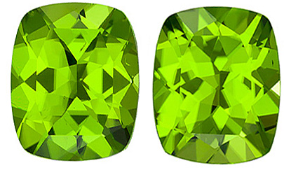 Perfect Size in Beautiful Loose Matched Paired Huge Peridot Gems from Arizona, Hard to Find Size, Cushion Cut, 9.14 carats
