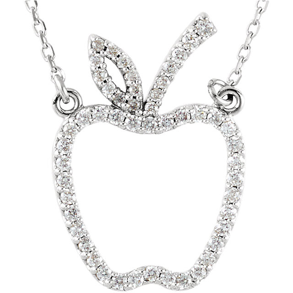 Perfect Teacher's Gift! - .8-1.2mm 1/5ct Diamond Apple Shape Necklace in 14k Gold - Metal Type Options