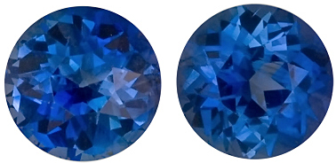 Perfection in Blue! Matched Pair of Blue Sapphire Gemstones for SALE, Round Cut, 3.32 carats