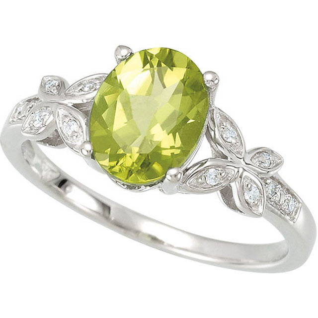 Fabulous 14 Karat White Gold Oval Genuine Peridot & .05 Carat Total Weight Diamond Ring