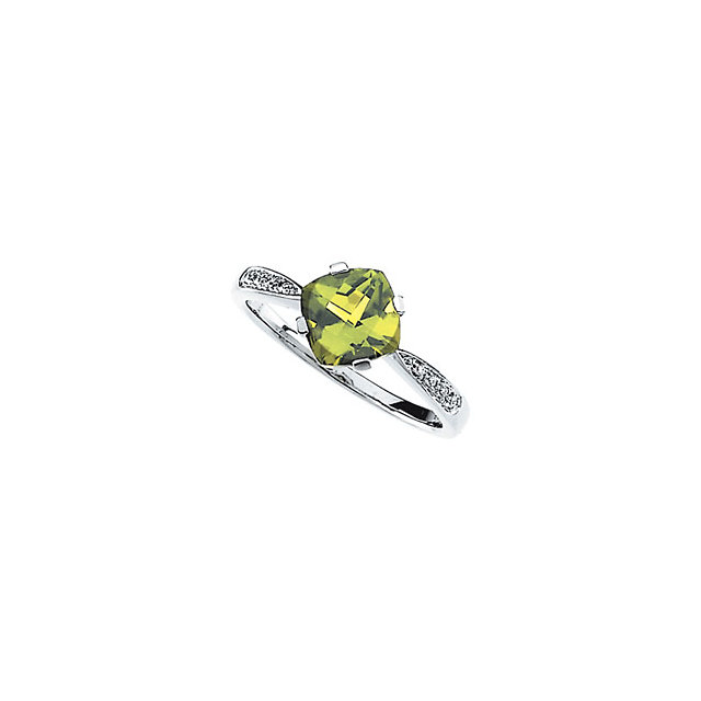 Pleasing Accented Cushion Genuine Peridot Ring