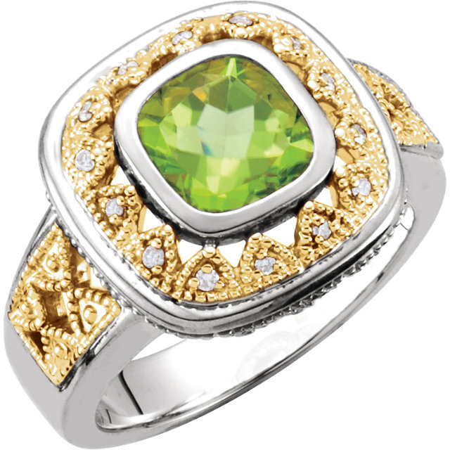 Incredible Cushion Genuine Peridot & Diamond Granulated Design Ring