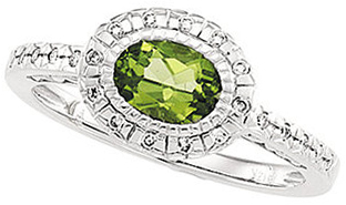 Peridot & Diamond Halo-Style Ring