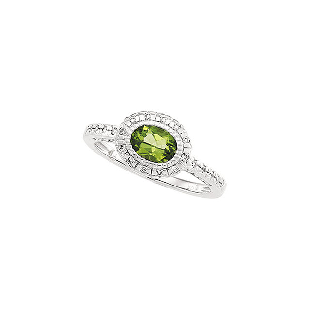 Graceful Oval Genuine Peridot & Diamond Halo-Style Ring
