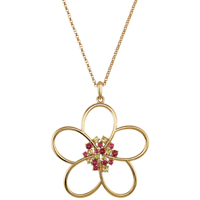 Very Nice 14 Karat Yellow Gold Peridot & Pink Tourmaline Flower 18