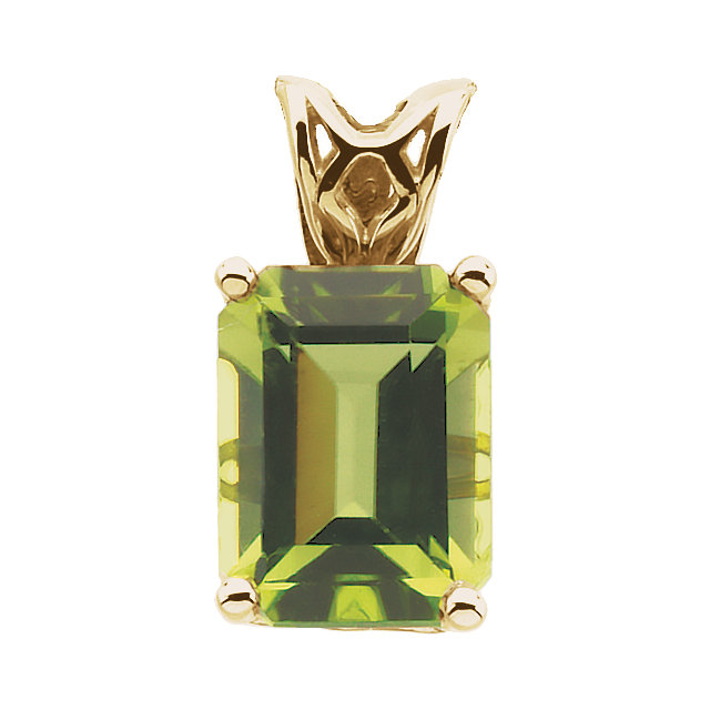 Classic Emerald Genuine Peridot Scroll Setting Pendant