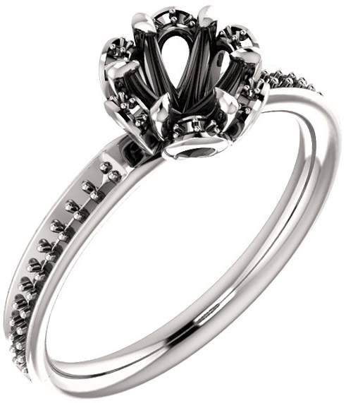 Petal Round Ring Solitaire Engagement Ring Mounting - Shape Centergems Sized 5.20 mm to 8.00 mm - Customize Metal, Accents or Gem Type