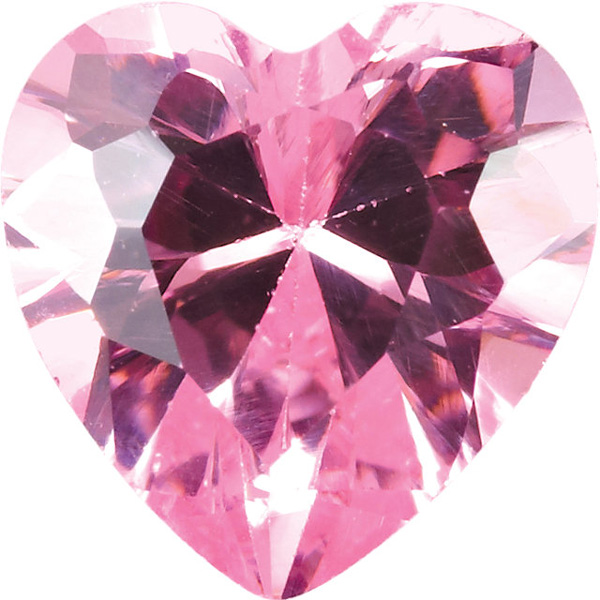 Pink Cubic Zirconia Loose Faceted Gemstone Heart Shape Sized 7.00 mm