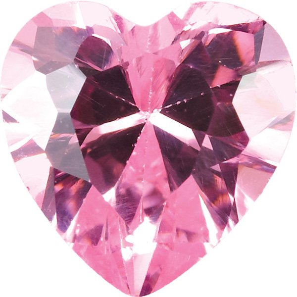 Quality Loose Genuine Faceted Pink Cubic Zirconia in Heart Shape Sized 4.00 mm