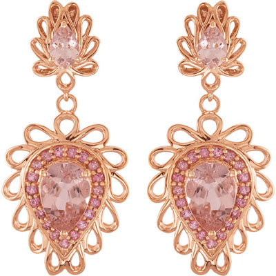 Pink Explosion! 4.83ct 6x4-10x7mm Morganite, Pink Tourmaline Accents and 14k Rose Gold Create a Stunning Combination of Shades of Pink In These Post Back Dangle Earrings