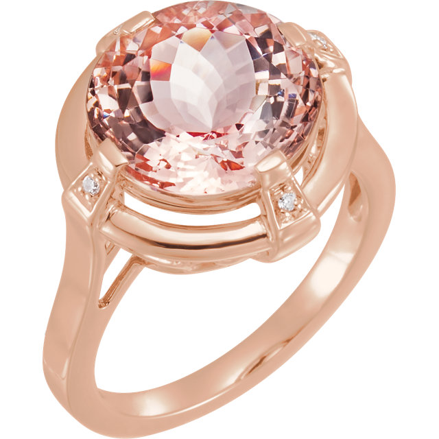 Genuine  14 KT Rose Gold Morganite & .025 Carat TW Diamond Ring