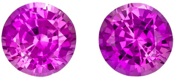 Pink Sapphires for Studs inl Matched Pair in Round Cut, Vivid Intense Pink Color, 5.0 mm, 1.32 Carats