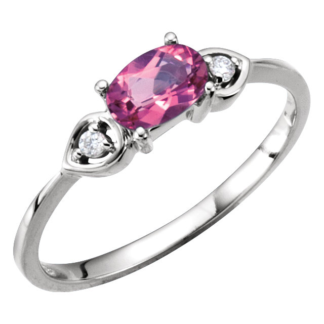 Alluring Oval Genuine Pink Tourmaline & Diamond Accented 3-Stone Ring
