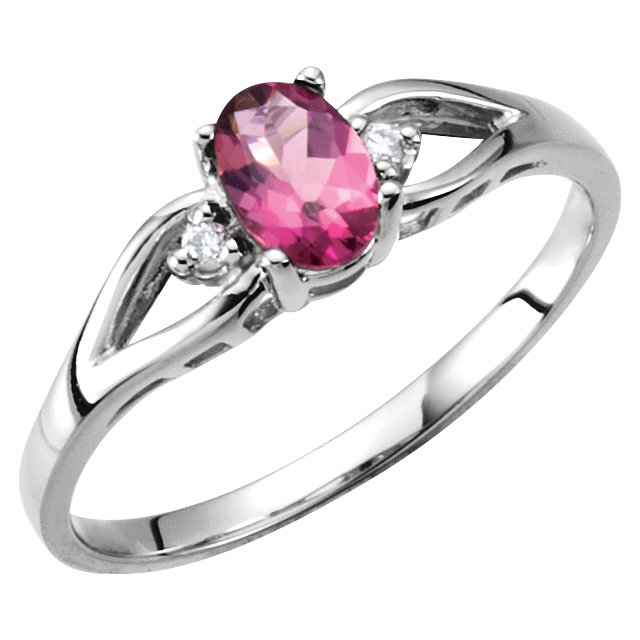 Great Gift in Pink Tourmaline & Diamond Accented Ring