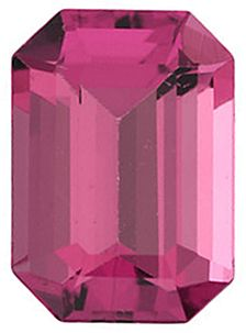 Faceted  Emerald Shape Pink Tourmaline Gemstone Grade AAA, 9.00 x 7.00 mm in Size, 2.85 Carats
