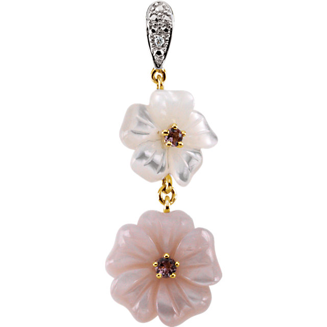 Must See Pink Tourmaline, Mother Of Pearl & Diamond Floral-Inspired Pendant
