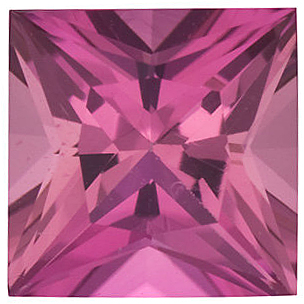Pink Tourmaline Princess Cut in Grade AAA