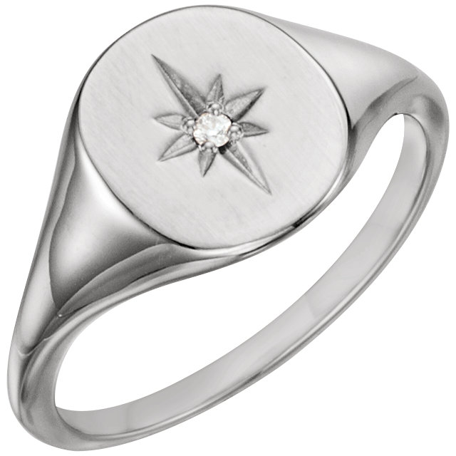 Great Deal in Platinum .02 Carat Total Weight Diamond Signet Ring