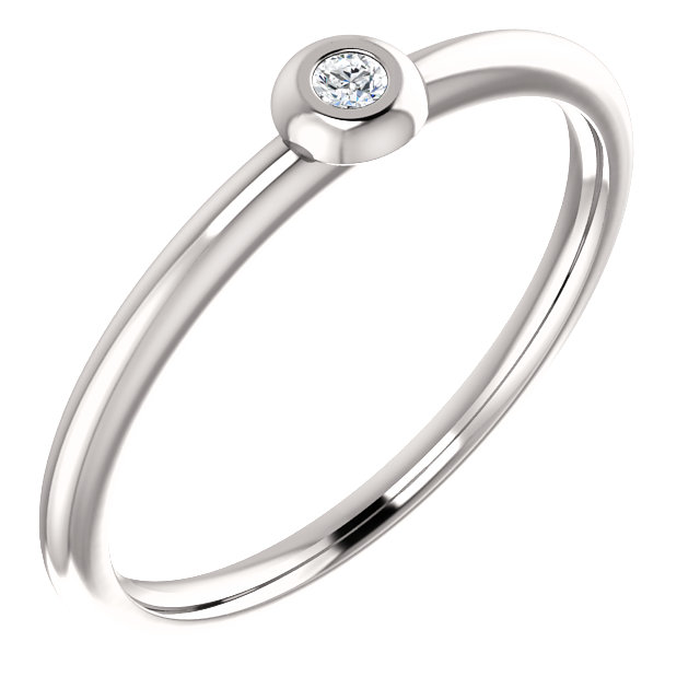 Perfect Gift Idea in Platinum .03 Carat Total Weight Diamond Stackable Ring