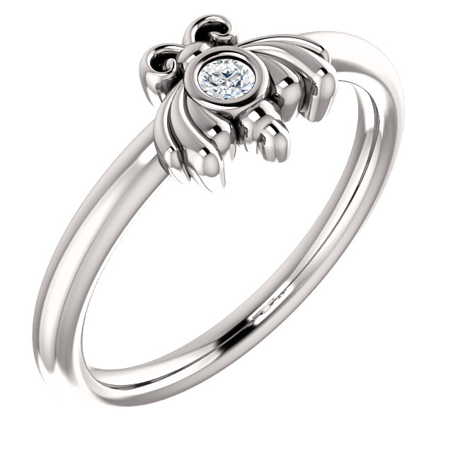 Great Deal in Platinum .03 Carat Total Weight Diamond Youth Bee Ring