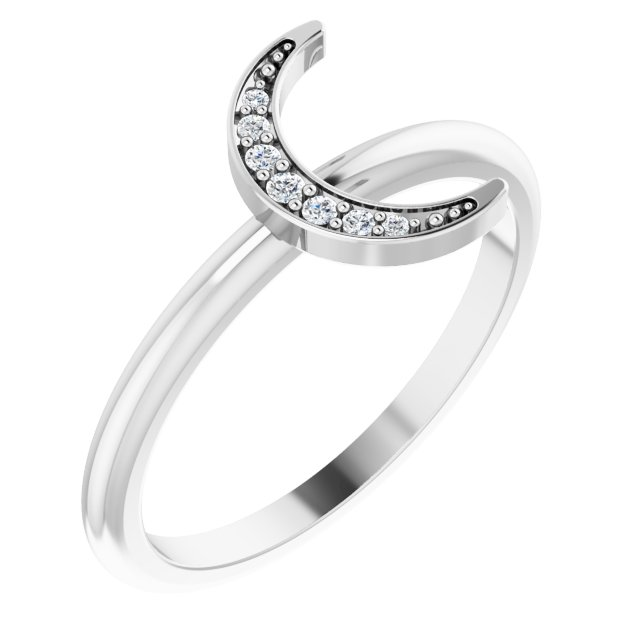 Genuine Diamond Ring in Platinum .04 Carat Diamond Stackable Crescent Ring