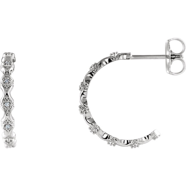 Wonderful Platinum .05 Carat Total Weight Diamond Hoop Earrings