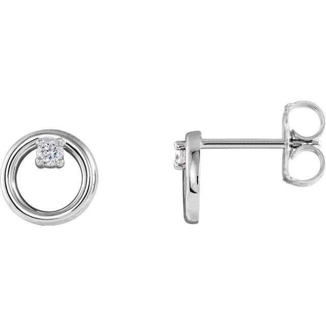Perfect Jewelry Gift Platinum .06 Carat Total Weight Diamond Circle Earrings