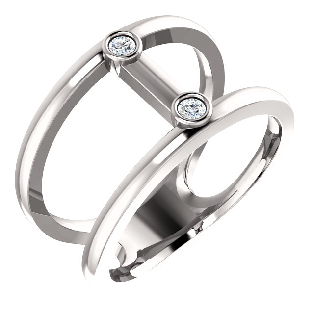 Fine Platinum .06 Carat TW Diamond Two-Stone Negative Space Ring
