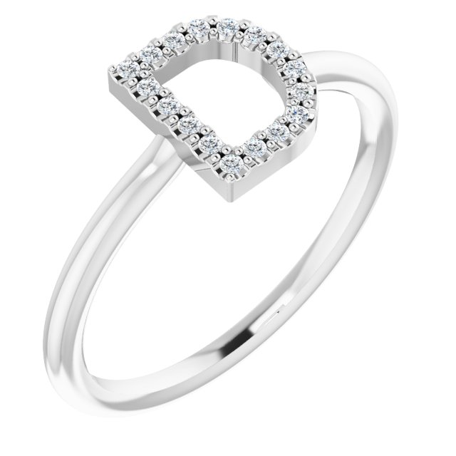 Genuine Diamond Ring in Platinum .06 Carat Diamond Initial D Ring