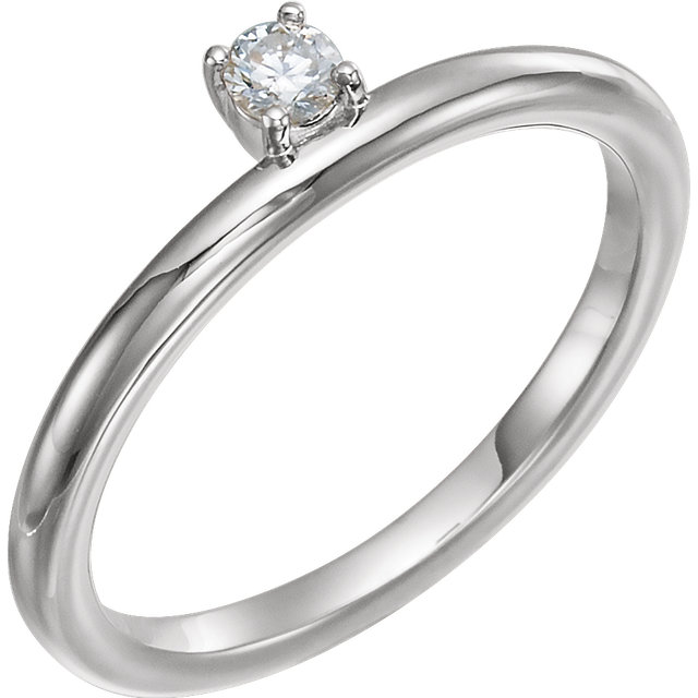 Appealing Jewelry in Platinum 0.10 Carat Total Weight Diamond Stackable Ring