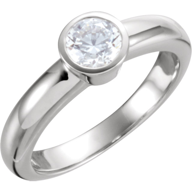 Easy Gift in Platinum 0.50 Carat Total Weight Diamond Round Solitaire Engagement Ring