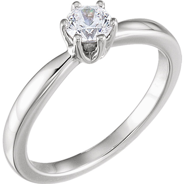 Perfect Jewelry Gift Platinum 0.50 Carat Total Weight Diamond Solitaire Engagement Ring