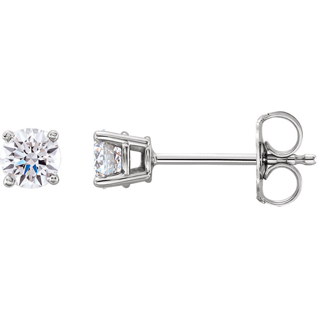 Chic Platinum 0.50 Carat Total Weight Lab-Grown Diamond Stud Earrings