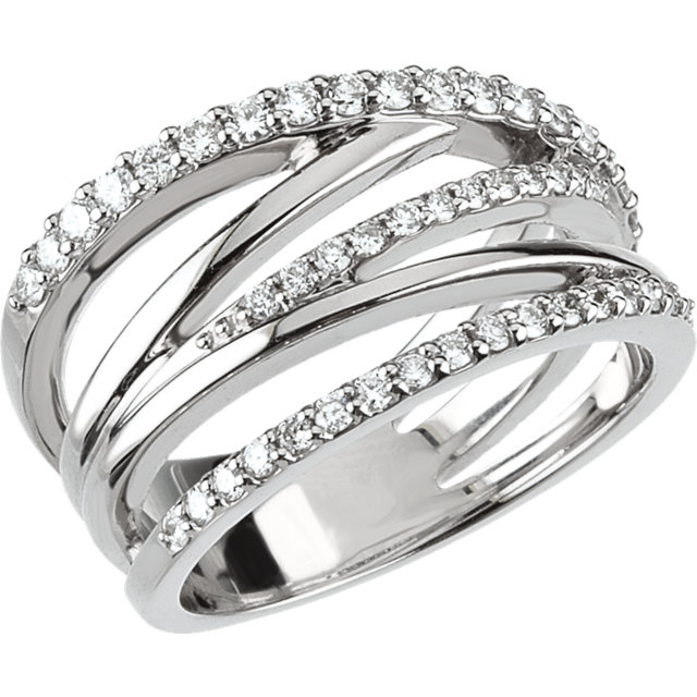 Quality Platinum 0.50 Carat TW Diamond Criss Cross Ring