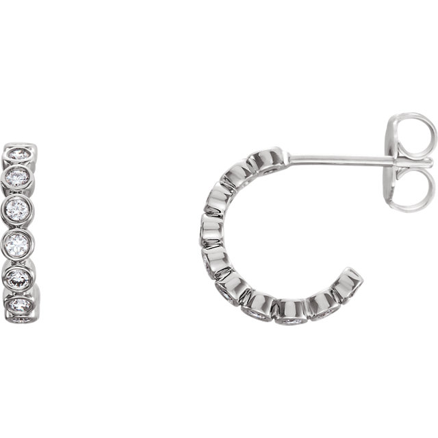 Beautiful Platinum 0.25 Carat Total Weight Diamond Bezel-Set J-Hoop Earrings