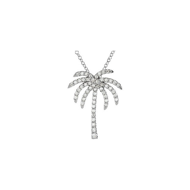 Platinum 0.33 Carat Diamond Palm Tree 16