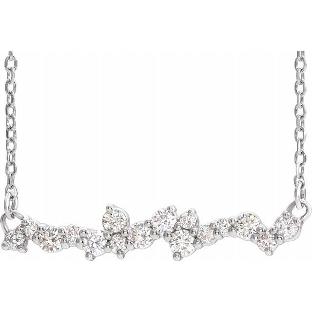 Real Diamond Necklace in Platinum 1/3 Carat Diamond Scattered Bar 16