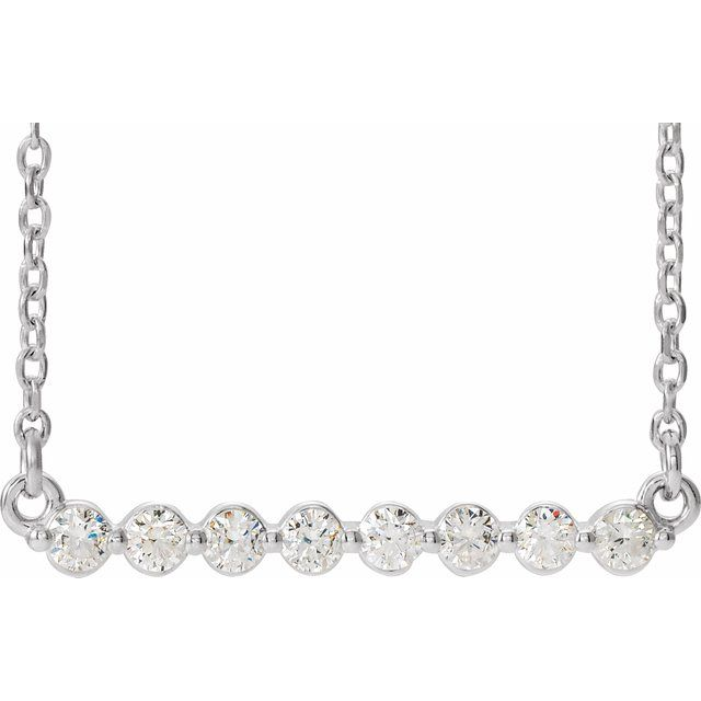 Real Diamond Necklace in Platinum 1/4 Carat Diamond Bar 18