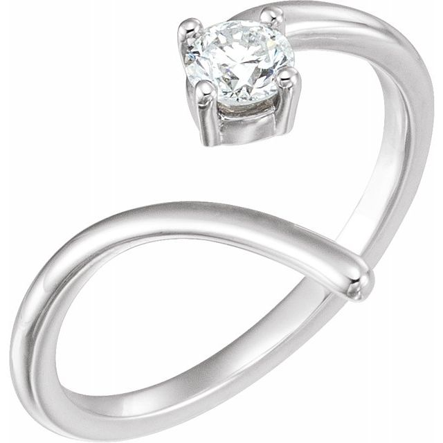 Genuine Diamond Ring in Platinum 1/4 Carat Diamond Negative Space Ring