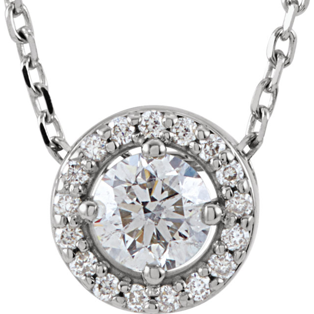 Perfect Jewelry Gift Platinum 0.20 Carat Total Weight Diamond Halo-Style 16