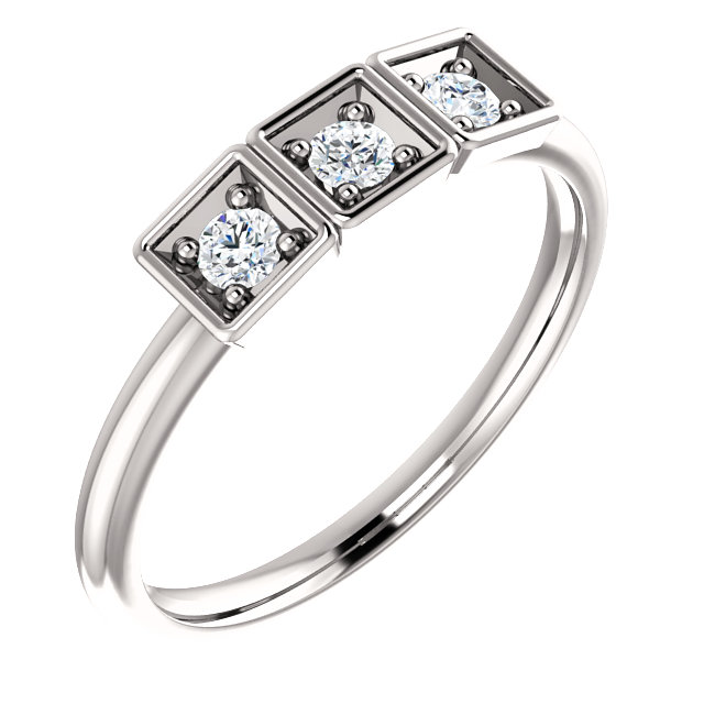 Jewelry Find Platinum 0.20 Carat TW Stackable Ring