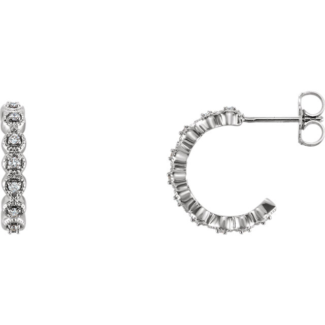 Perfect Jewelry Gift Platinum 0.17 Carat Total Weight Diamond J-Hoop Earring