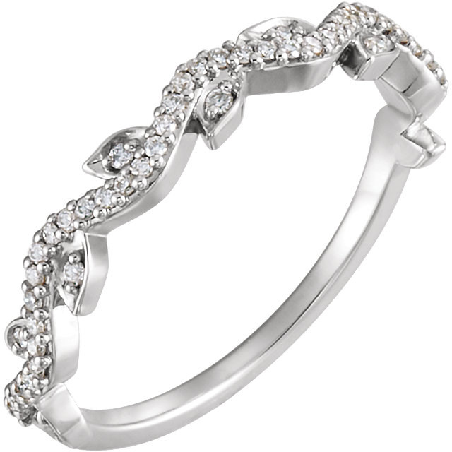 Surprise Her with  Platinum 0.17 Carat Total Weight Diamond Leaf Ring
