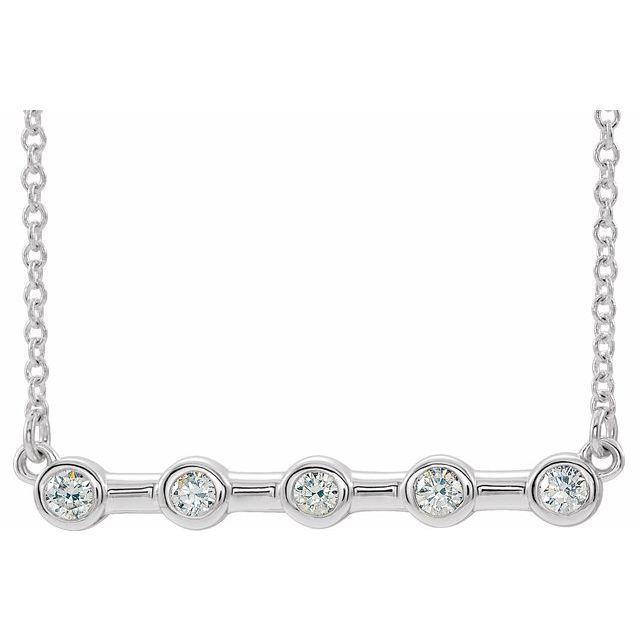 Real Diamond Necklace in Platinum 1/6 Carat Diamond Bezel-Set Bar 18