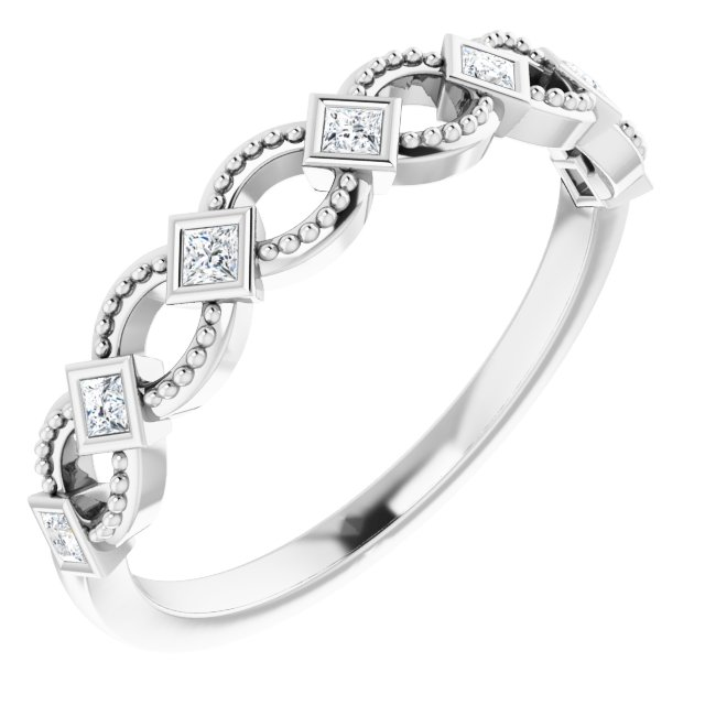 Genuine Diamond Ring in Platinum 1/6 Carat Diamond Stackable Ring