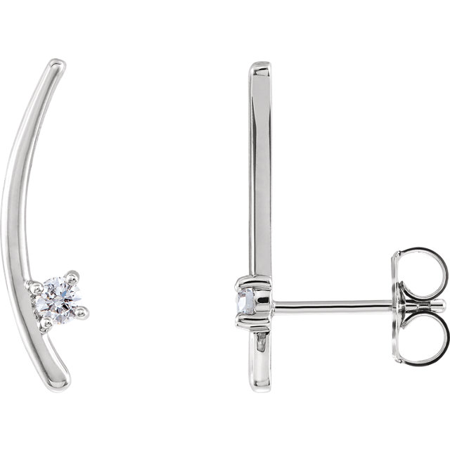Chic Platinum 0.12 Carat Total Weight Diamond Ear Climbers