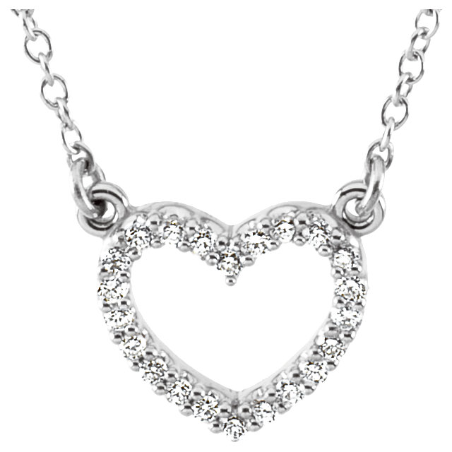 Platinum 1/8 Carat TW Diamond Heart 16.25